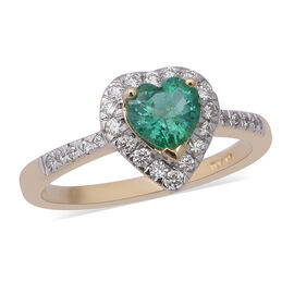 ILIANA 1.04 Ct AAA Kagem Zambian Emerald and Diamond Heart Halo Ring in 18K Gold SI GH