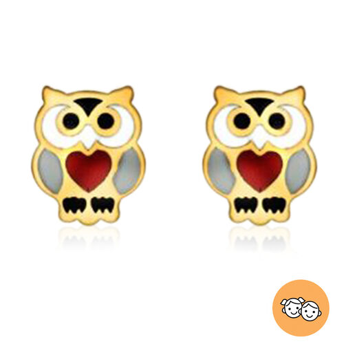 Children Owl Stud Earrings (with Push Back) in 9K Yellow Gold
