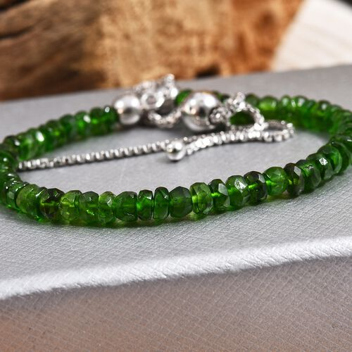 Russian Diopside (Rnd) Beads Bracelet (Size 6.5-10 Adjustable) in Rhodium Overlay Sterling Silver 13.090 Ct.