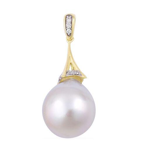 ILIANA 18K Yellow Gold AAAA South Sea White Pearl (Rnd 10-10.5 mm) Pendant with Diamond (SI/G-H)