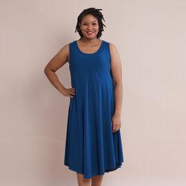 JOVIE 100% Viscose Solid Sleeveless Dress (Size 60x112Cm) - London Blue