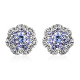 Tanzanite (Rnd), Natural Cambodian Zircon Floral Earrings (with Push Back) in Platinum Overlay Sterl