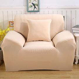 Solid Colour Washable Stretch Sofa Cover (Size 145-185 Cm) - Beige