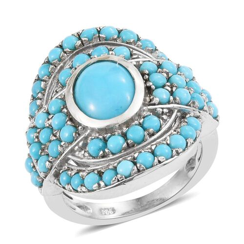Arizona Sleeping Beauty Turquoise (Ovl 1.50 Ct) Ring in Platinum Overlay Sterling Silver 3.000 Ct. Silver wt. 6.75 Gms.