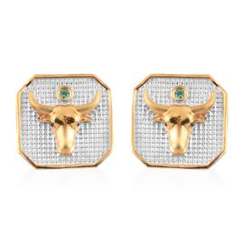 Emerald Taurus Zodiac Stud Earrings (with Push Back) in Yellow Gold and Platinum Overlay Sterling Si
