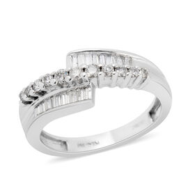 0.41 Ct Diamond Bypass Ring in 14K White Gold 4 Grams I1 GH