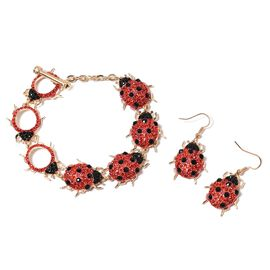 2 Piece Set Red and Black Austrian Crystal Beetle Bracelet and Hook Earrings in Gold Tone 79 Inch