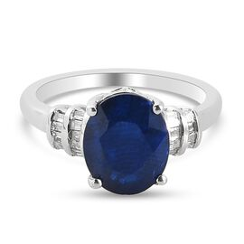 Tanzanian Blue Spinel and Diamond Ring in Platinum Overlay Sterling Silver 3.07 Ct.