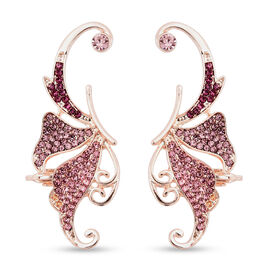 Austrian Pink Crystal Climber Earrings (with Push Back) in Rose Gold Tone