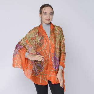 DOD - LA MAREY 100% Mulberry Silk Bohemian Pattern Womens Scarf - Orange