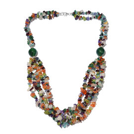 Amethyst, Rainbow Moonstone, Citrine, Green Aventurine, Paraibe Apatite, Carnelian, Tanzanite, Hebei Peridot , Verde Onyx Beads Necklace (Size 20) in Platinum Overlay Sterling Silver 350.000 Ct