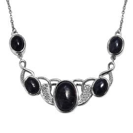 Blue Aventurine (Ovl) Necklace (Size 18) in Silver Plated 14.000 Ct.