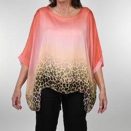 DOD - Nova of London Premier Collection 100% Silk Leopard Pattern Top in Coral (Size 10-18)