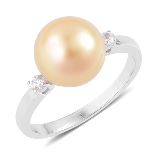 ILIANA AAA South Sea Golden Pearl (10.5-11mm) and Diamond (SI/G-H) Ring in 18K White Gold