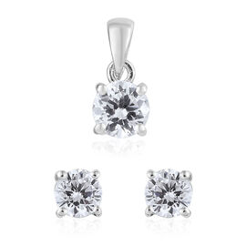 ELANZA  Simulated Diamond (Rnd) Solitaire Pendant and Stud Earrings (with Push Back) in Platinum Overlay Sterling Silver