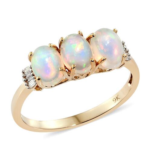 1.50 Carat Ethiopian Opal and Diamond 3 Stone Ring in 9K Gold 2.08 Grams