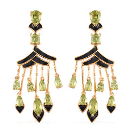 AA Hebei Peridot Enamelled Earrings (with Push Back) in 14K Gold Overlay Sterling Silver 6.00 Ct, Si