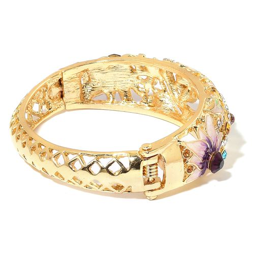 Multicolour Austrian Crystal (Rnd) Lotus Flower Enamelled Bangle (Size 6.5) in Yellow Gold Plated