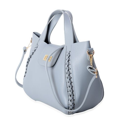Set of 2 - Blue Colour Tote Bag (Size 31x22x26x12 Cm) and Sling Bag (Size 24x19x9 Cm) with Removable Shoulder Strap