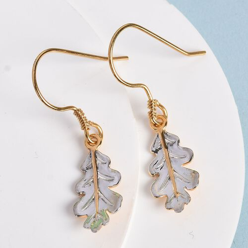 Platinum and Yellow Gold Overlay Sterling Silver Leaf Earrings