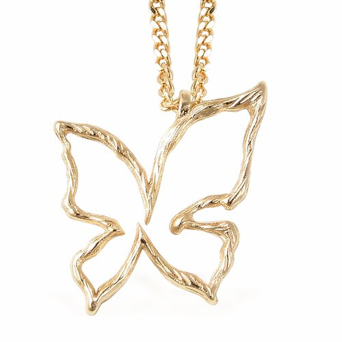 Isabella Liu Butterfly Reborn Collection Butterfly Pendant With Chain in Gold Plated Silver