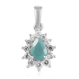 AAA Grandidierite and Natural Cambodian Zircon Halo Pendant in Platinum Overlay Sterling Silver 1.24