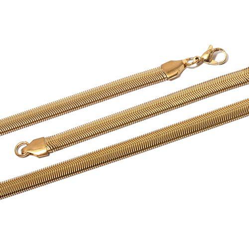 2 Piece Set - Yellow Plated Snake Necklace (Size 30) and Bracelet (Size 7.50)