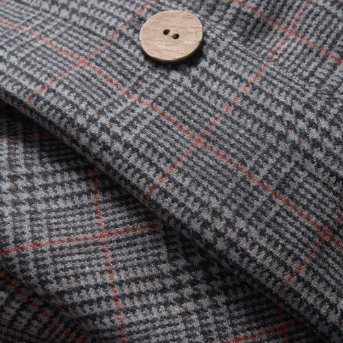 Woollen Brown Check Cape with  Peter Pen Collar and Wooden Buttons - One Size
