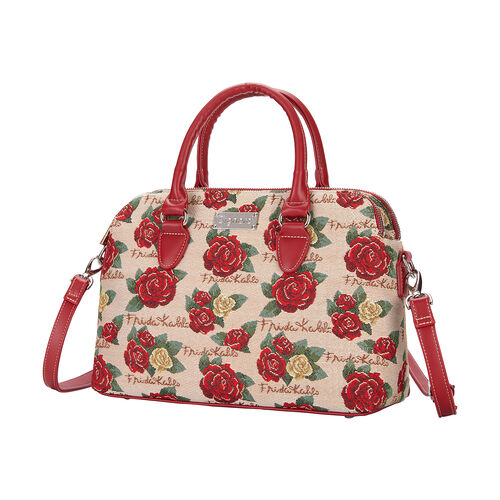 Signare Tapestry - Frida Kahlo Rose Triple Compartment Bag with FREE UMBRELLA