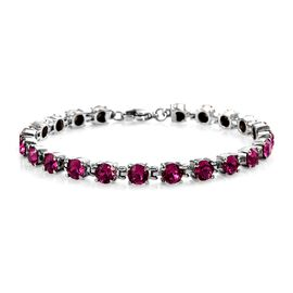 J Francis - Crystal from Swarovski Fuchsia Crystal (Rnd) Bracelet (Size 7.5) in Stainless Steel