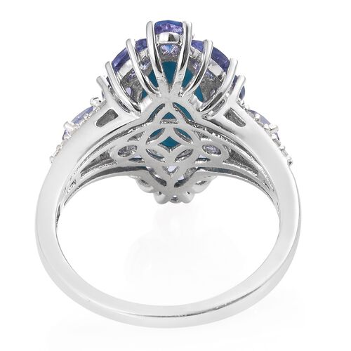 Arizona Sleeping Beauty Turquoise (Ovl 2.75 Ct), Tanzanite and Natural Cambodian Zircon Ring in Platinum Overlay Sterling Silver 5.750 Ct. Silver wt 5.08 Gms.
