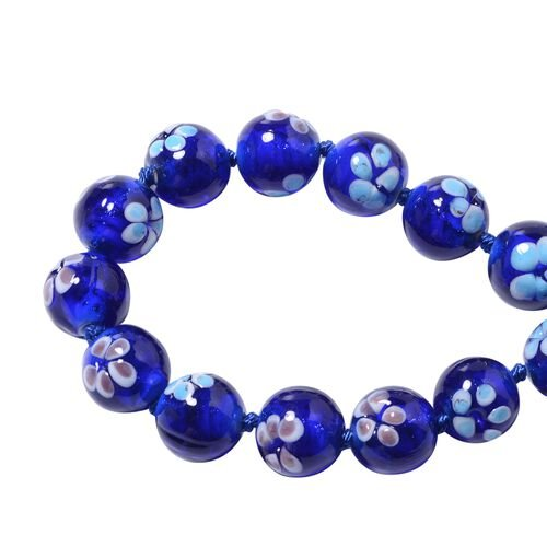 Millefiori Collection- Blue Colour Murano Style  Glass Beads Necklace (Size 20) with Magnetic Lock