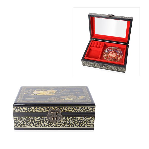 2 - Layer Landscape Pattern Jewellery Box with Inside Mirror and Removable Tray (Size 21x14x7.5 Cm)