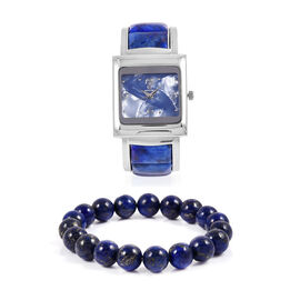 2 Piece Set- STRADA Japanese Movement Bangle Watch with  Lapis Lazuli Round Bead Stretchable Bracelet 195.00 Ct.