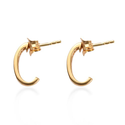 Value Buy- Yellow Diamond J Hoop Earrings (with Push Back) in 14K Gold Overlay Sterling Silver 0.25 Ct.