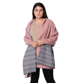 Speckled Pattern Reversible Winter Goffer Scarf (Size 65x180 Cm) - Grey and Pink