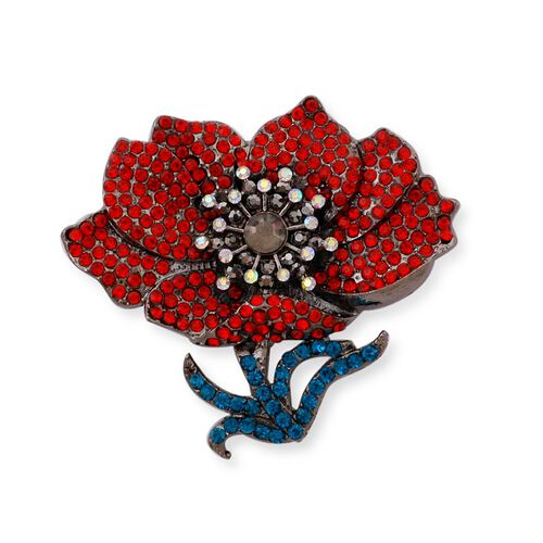 TJC Poppy Design - Multi Colour Austrian Crystal Poppy Flower Brooch in Black Plated