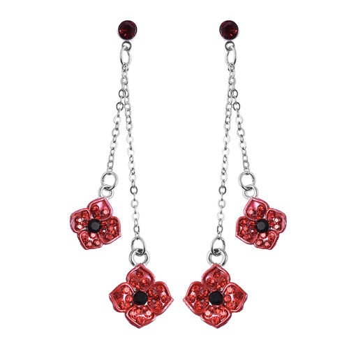 TJC Poppy Design - Black and Red Austrian Crystal Enamelled Poppy Dangle Earrings (with Push Back) in Silver Tone