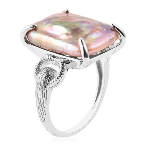 Baroque Pearl Solitaire Ring in Rhodium Overlay Sterling Silver