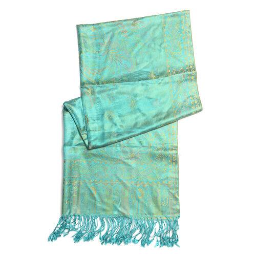SILK MARK - 100% Superfine Silk Turquoise Colour Scarf (Size 180x70 Cm) (Weight 125-140 Grams)