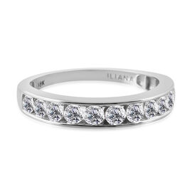 ILIANA 18K White Gold IGI Certified Diamond (Rnd) (SI/G-H) Half Eternity Ring 1.000 Ct.