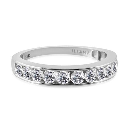 ILIANA 18K White Gold IGI Certified Diamond (Rnd) (SI/G-H) Half Eternity Ring 1.000 Ct.