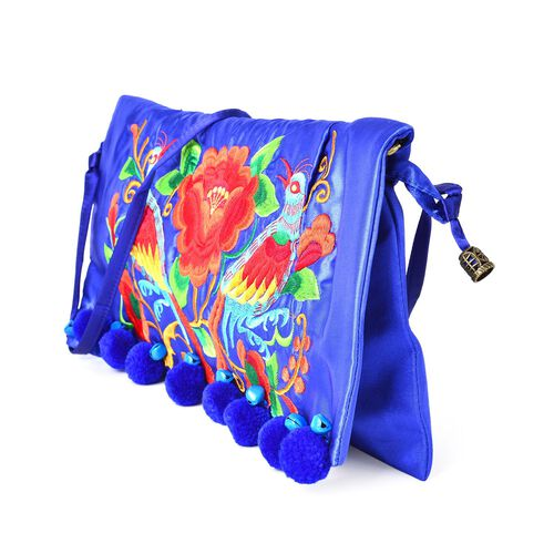 Shanghai Collection Blue, Red and Multi Colour Floral and Birds Embroidered Clutch Bag with Pom Pom (Size 35X18 Cm)