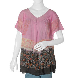 Pink and Multi Colour Floral Pattern Top (Free Size)