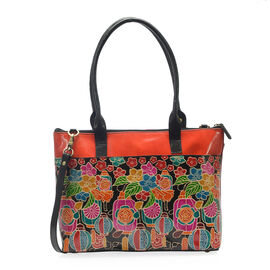 Japanese Art Collection 100% Genuine Leather Hand Painted Orange and Multi Colour Embossed Floral an