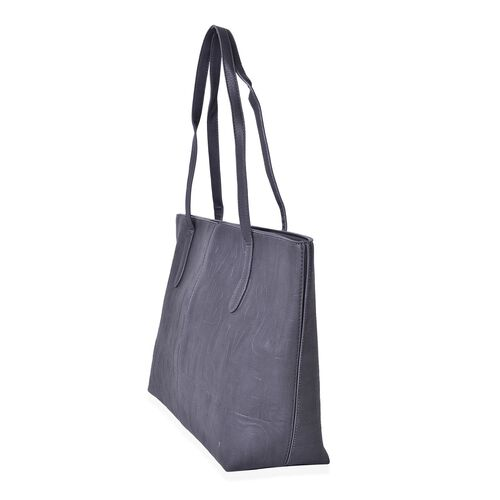 Italian Designer Inspired Embossed Grey Colour Tote Bag (Size 45x33x28x12 Cm)