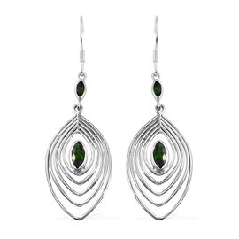 Russian Diopside (Mrq) Peacock Feather Hook Earrings in Sterling Silver 1.62 Ct, Silver wt 5.99 Gms.