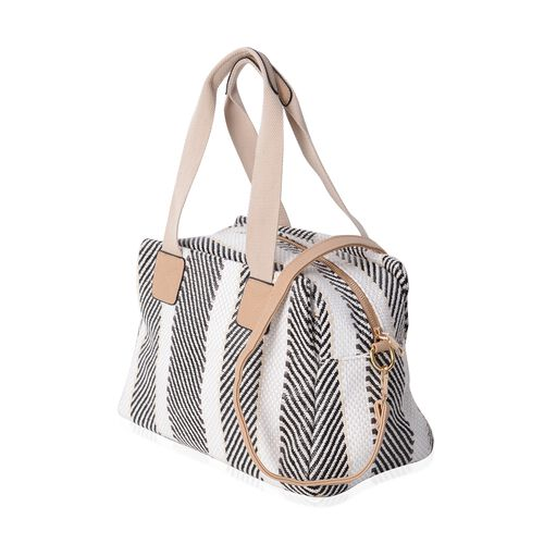 Black & White Striped Tote Bag with Removable Shoulder Strap (Size 34x23x17 Cm)