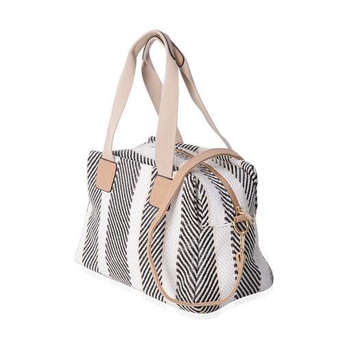 Multi Colour Tote Bag with Removable Shoulder Strap (Size 34x23x17 Cm)
