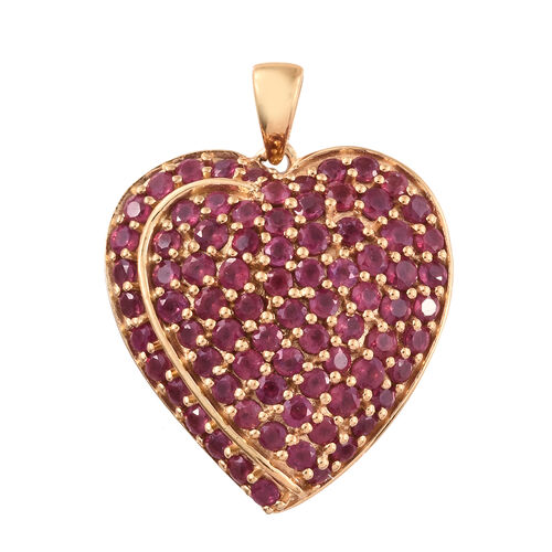 African Ruby (Rnd) Heart Pendant in 14K Gold Overlay Sterling Silver 4.500 Ct. Silver wt 5.70 Gms.